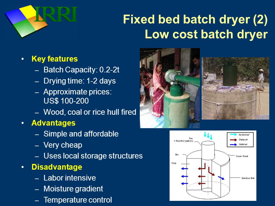 Fixed bed batch dryer (2) Low cost batch dryer Key features – Batch Capacity: 0.2-2t – Drying time: 1-2 days – Approximate prices: US$ 100-200 – Wood, coal or rice hull fired Advantages – Simple and affordable – Very cheap – Uses local storage structures Disadvantage – Labor intensive – Moisture gradient – Temperature control