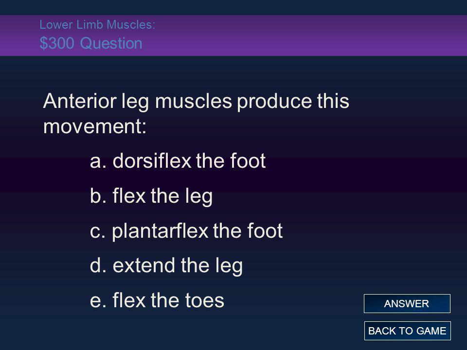 Lower Limb Muscles: $300 Question Anterior leg muscles produce this movement: a. dorsiflex the foot b. flex the leg c. plantarflex the foot d. extend