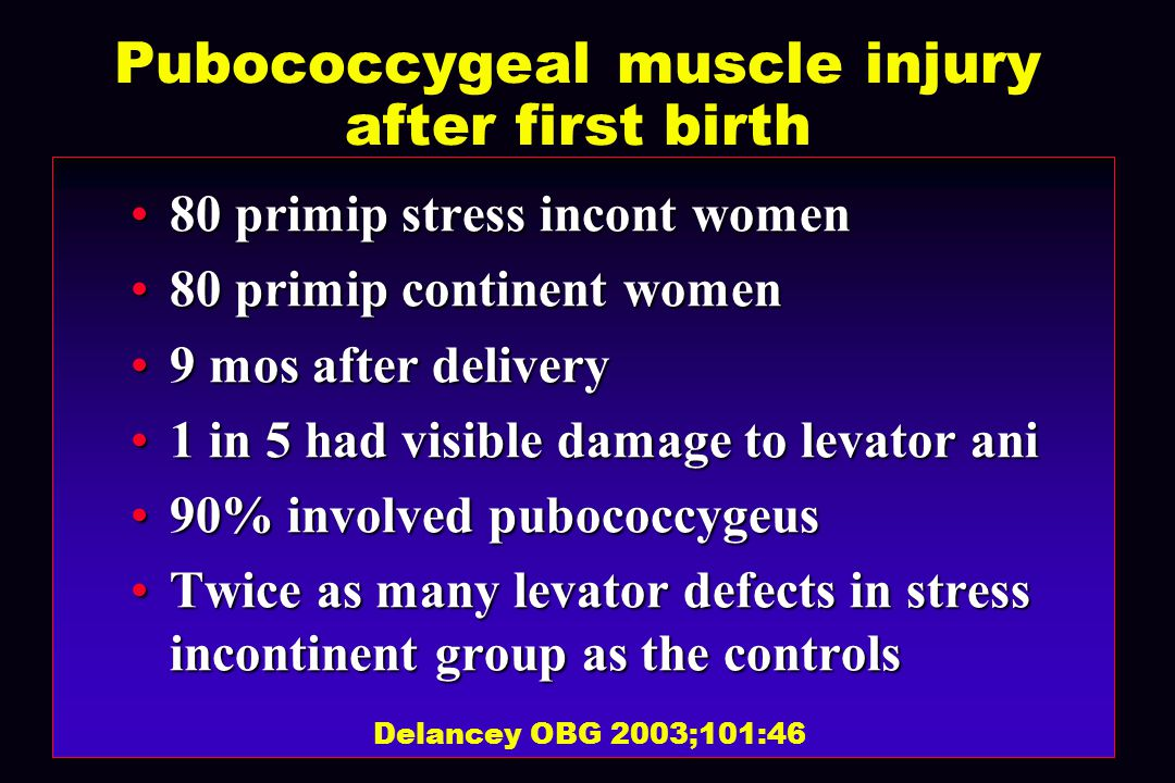 Pubococcygeal muscle injury after first birth 80 primip stress incont women80 primip stress incont women 80 primip continent women80 primip continent women 9 mos after delivery9 mos after delivery 1 in 5 had visible damage to levator ani1 in 5 had visible damage to levator ani 90% involved pubococcygeus90% involved pubococcygeus Twice as many levator defects in stress incontinent group as the controlsTwice as many levator defects in stress incontinent group as the controls Delancey OBG 2003;101:46
