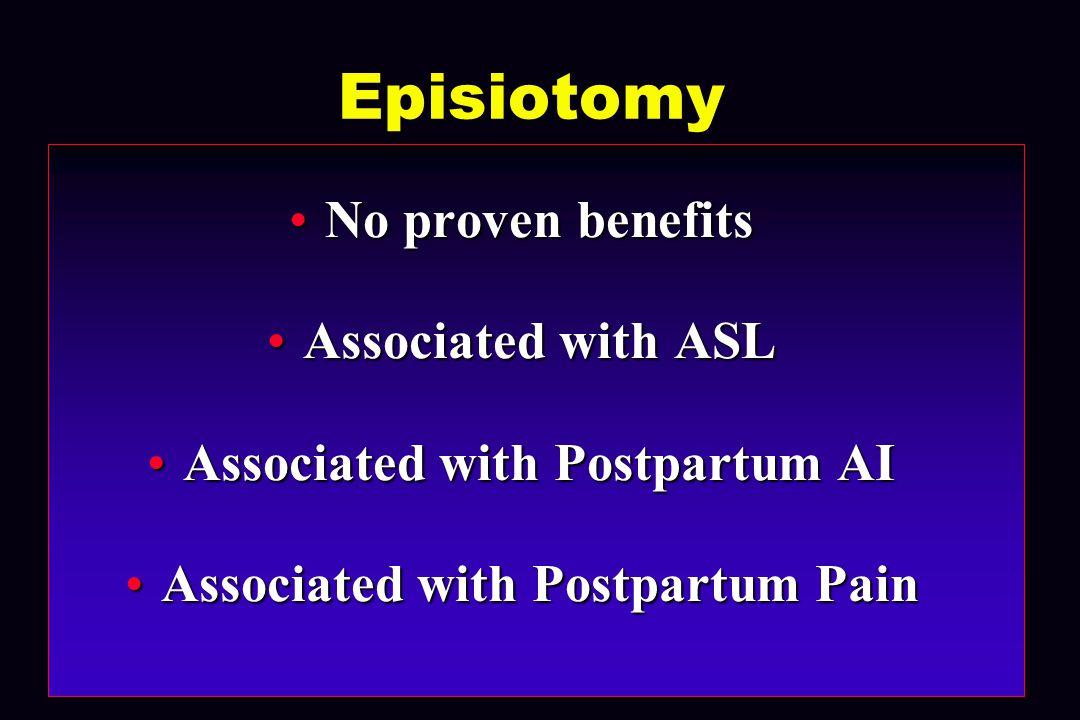 Nulliparous 1 st Vag Delivery PMH 1/88-12/00 Vaginal N = 17,715 Vaginal Spontaneous N = 7140 (40%) Spontaneous Epis N = 8083 (46%) Epis Forceps N = 315 (2%) Forceps Forceps + Epis N = 2177 (12%) Forceps + Epis N = 2177 (12%) ASL N = 305 (4%) ASL ASL N = 1590 (20%) ASL ASL N = 85 (27%) ASL ASL N = 1213 (55%) ASL