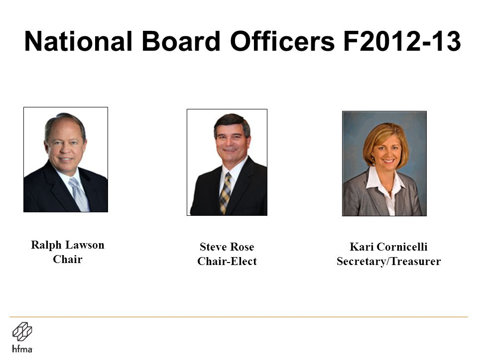 National Board Officers F2012-13 Ralph Lawson Chair Steve Rose Chair-Elect Kari Cornicelli Secretary/Treasurer