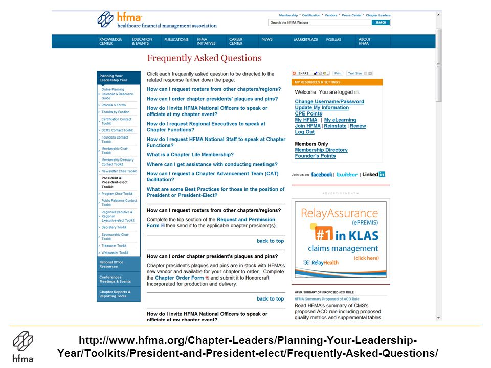 http://www.hfma.org/Chapter-Leaders/Planning-Your-Leadership- Year/Toolkits/President-and-President-elect/Frequently-Asked-Questions/