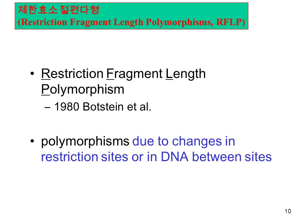 10 Restriction Fragment Length Polymorphism –1980 Botstein et al. polymorphisms due to changes in restriction sites or in DNA between sites 제한효소 절편다형