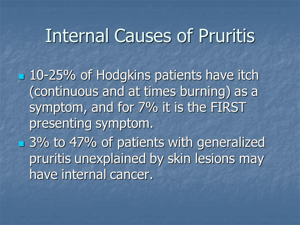 Internal Causes of Pruritis 10-25% of Hodgkins patients have itch (continuous and at times burning) as a symptom, and for 7% it is the FIRST presentin