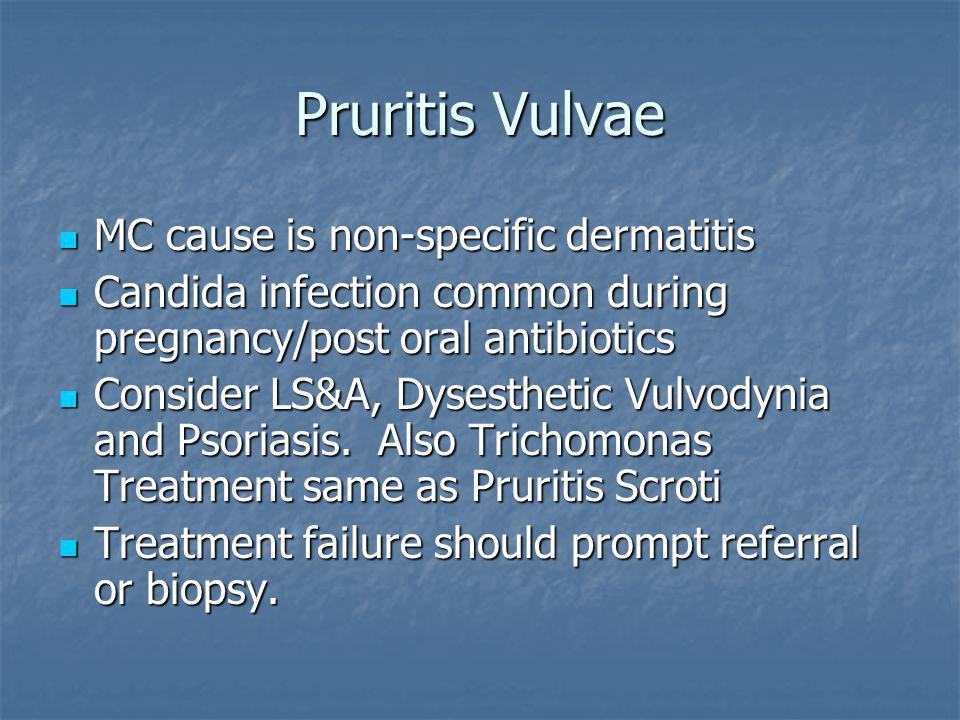 Pruritis Vulvae MC cause is non-specific dermatitis MC cause is non-specific dermatitis Candida infection common during pregnancy/post oral antibiotic