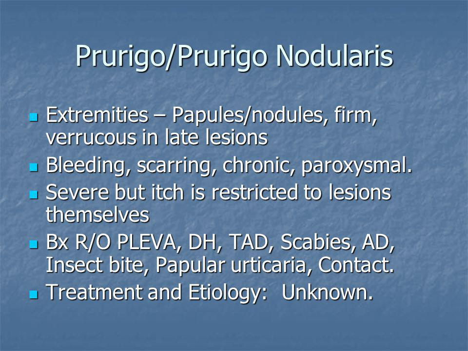 Prurigo/Prurigo Nodularis Extremities – Papules/nodules, firm, verrucous in late lesions Extremities – Papules/nodules, firm, verrucous in late lesions Bleeding, scarring, chronic, paroxysmal.