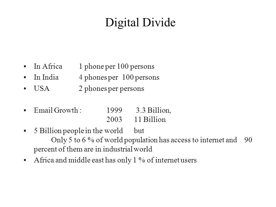 Digital Divide In Africa 1 phone per 100 persons In India4 phones per 100 persons USA2 phones per persons Email Growth : 1999 3.3 Billion, 200311 Billion 5 Billion people in the world but Only 5 to 6 % of world population has access to internet and90 percent of them are in industrial world Africa and middle east has only 1 % of internet users