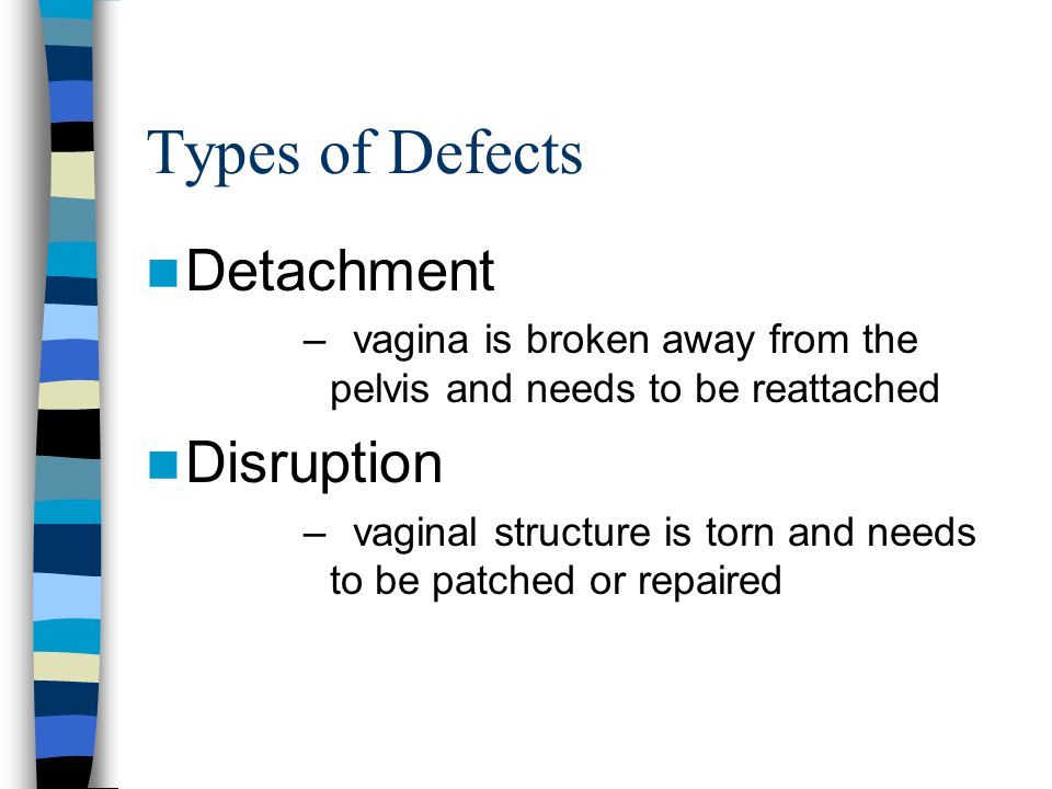 Types of Defects Detachment – vagina is broken away from the pelvis and needs to be reattached Disruption – vaginal structure is torn and needs to be