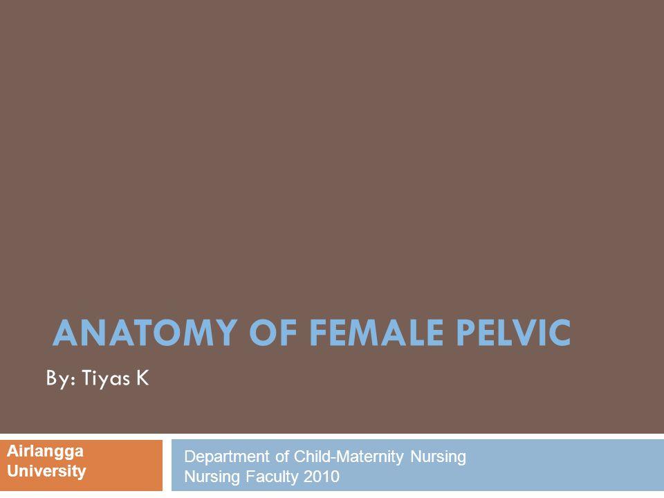 ANATOMY OF FEMALE PELVIC By: Tiyas K Airlangga University Department of Child-Maternity Nursing Nursing Faculty 2010
