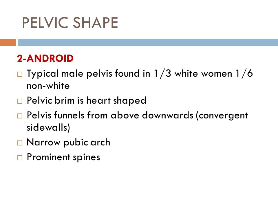 PELVIC SHAPE 2-ANDROID  Typical male pelvis found in 1/3 white women 1/6 non-white  Pelvic brim is heart shaped  Pelvis funnels from above downwards (convergent sidewalls)  Narrow pubic arch  Prominent spines