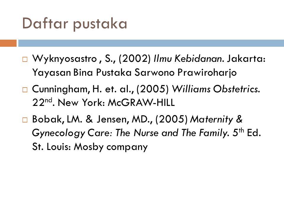 Daftar pustaka  Wyknyosastro, S., (2002) Ilmu Kebidanan.