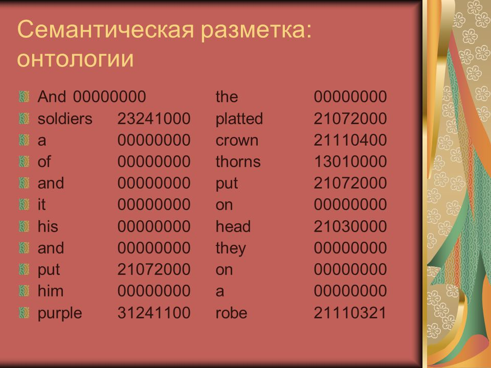 Семантическая разметка: онтологии 00000000Low content word (and, the, a, of, on, his, they etc) 13010000Plant life in general 21030000Body and body parts 21072000Object-oriented physical activity (e.g.