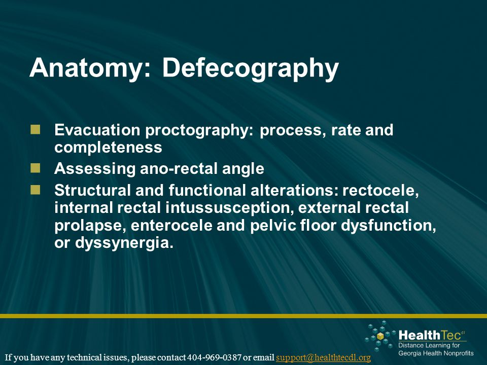 Anatomy: Defecography Evacuation proctography: process, rate and completeness Assessing ano-rectal angle Structural and functional alterations: rectocele, internal rectal intussusception, external rectal prolapse, enterocele and pelvic floor dysfunction, or dyssynergia.