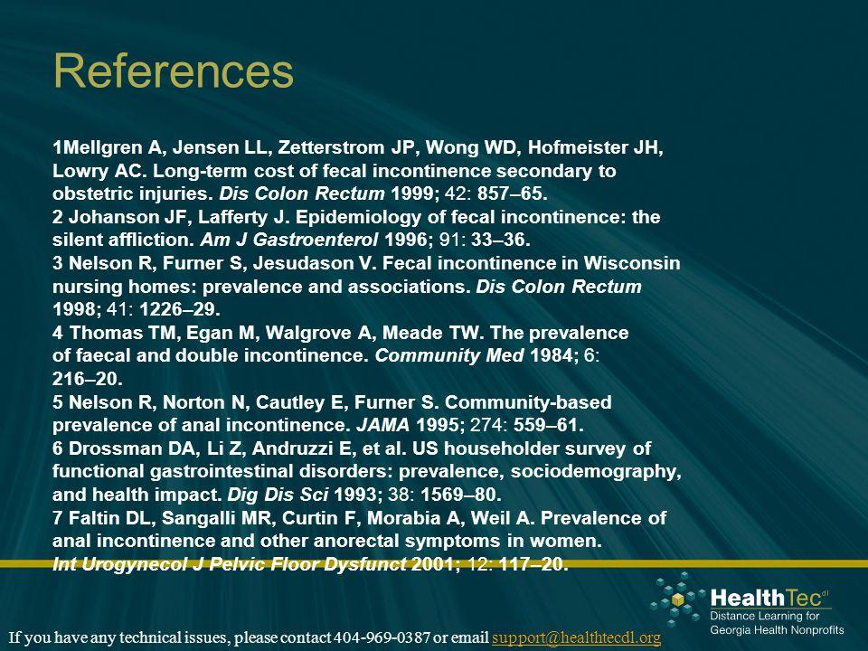 References 1Mellgren A, Jensen LL, Zetterstrom JP, Wong WD, Hofmeister JH, Lowry AC.
