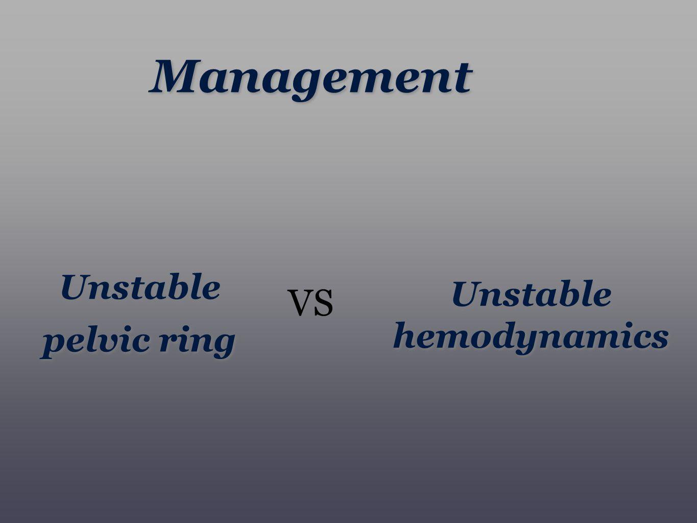 Unstable pelvic ring Unstable hemodynamics VS Management