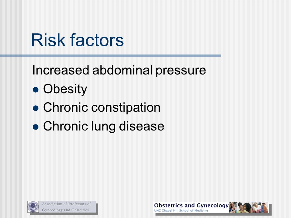 Risk factors Increased abdominal pressure Obesity Chronic constipation Chronic lung disease