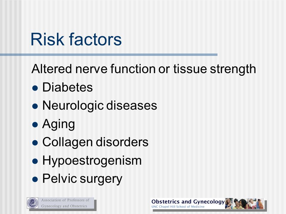 Risk factors Altered nerve function or tissue strength Diabetes Neurologic diseases Aging Collagen disorders Hypoestrogenism Pelvic surgery