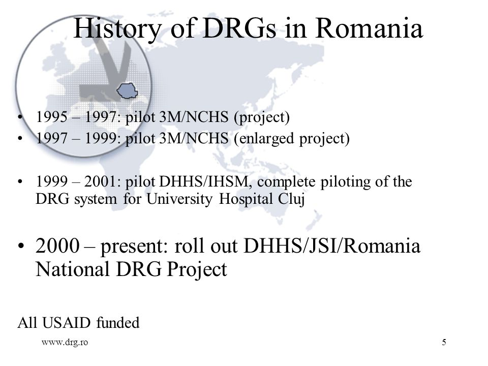 www.drg.ro6 DRG National Project INSTITUTIONS: National Health Insurance House Ministry of Health and Family National Center for Health Statistics Institute for Health Services Management College of Physicians Ministry of Finance 23 Hospitals (all types) USAID Romania DHHS, JSI, USA TEAMS: Project Management Coding Management Information Systems Costing Communication Legislation/Policy/Regulation Quality Education 23 Hospitals (I, U, C, M)
