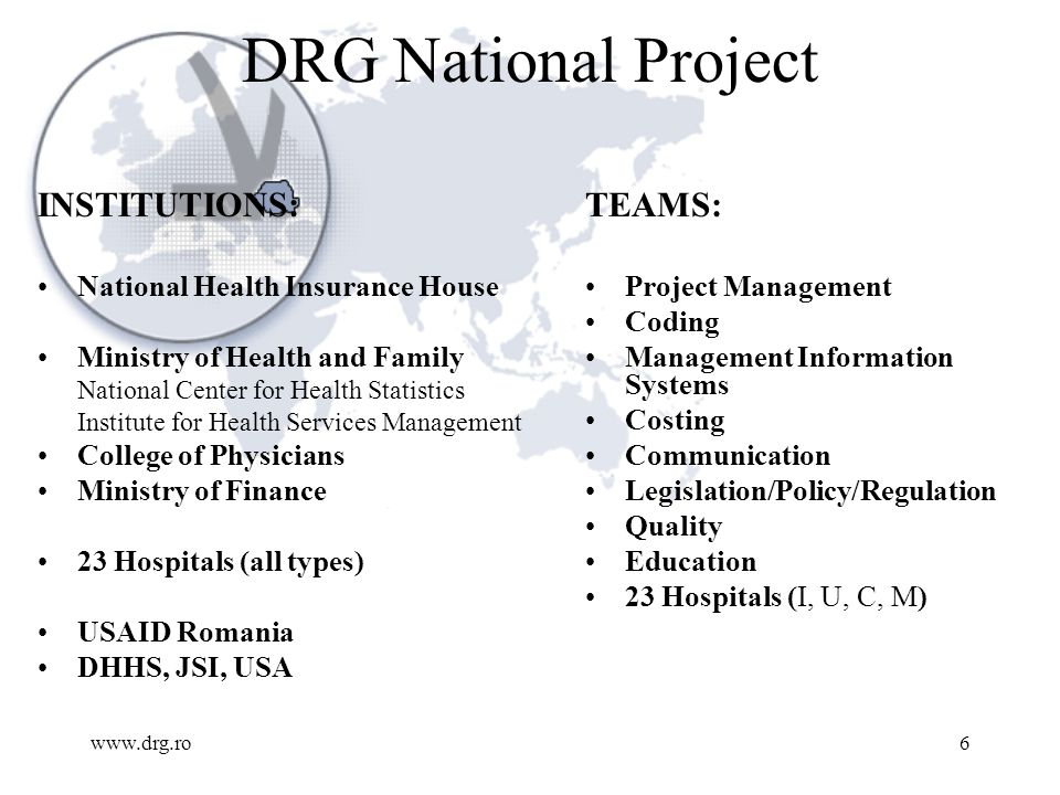 www.drg.ro7 2001, 23 Project Hospitals ICD 10 for dx, ICPM Ro version for procedures MBDS, clinical patient level data collection Training Grouping Data analysis Training Department level cost data collection Modeling the reimbursement scheme Training Preliminary national scale implementation plan