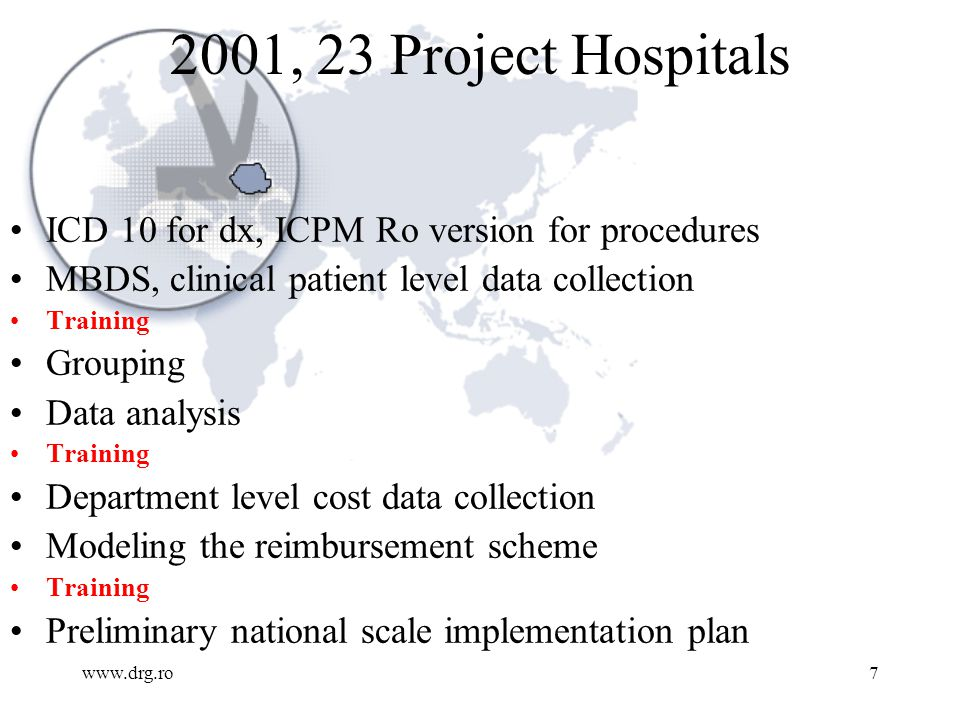 www.drg.ro7 2001, 23 Project Hospitals ICD 10 for dx, ICPM Ro version for procedures MBDS, clinical patient level data collection Training Grouping Da