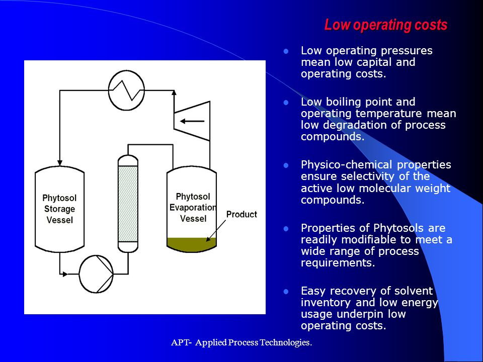 APT- Applied Process Technologies. Low operating pressures mean low capital and operating costs. Low boiling point and operating temperature mean low