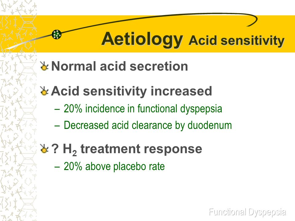 Aetiology Acid sensitivity Normal acid secretion Acid sensitivity increased –20% incidence in functional dyspepsia –Decreased acid clearance by duodenum .
