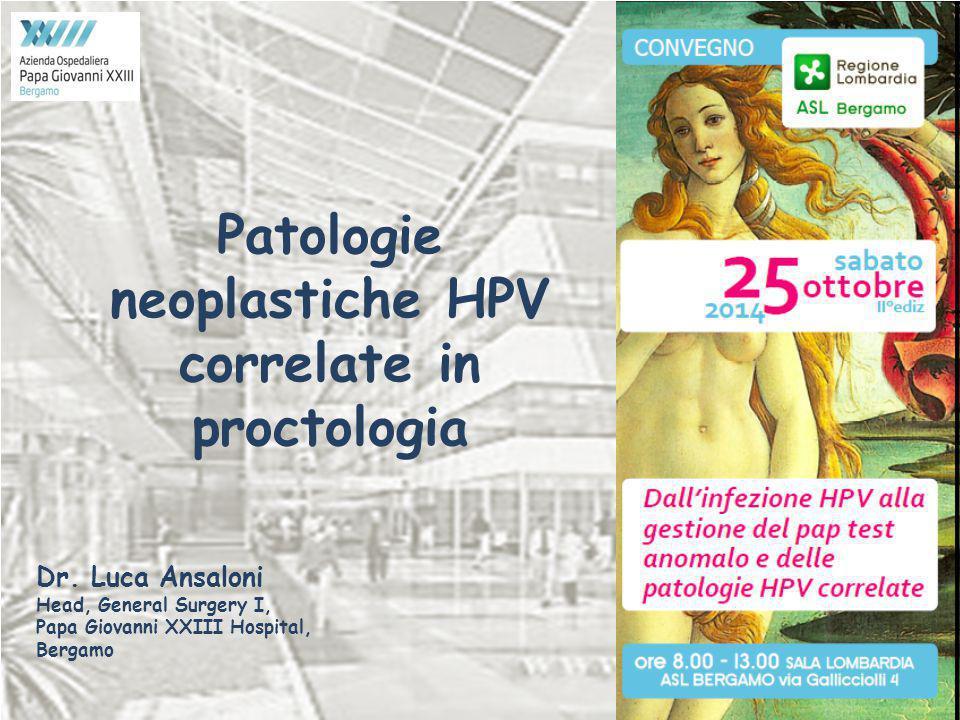 Patologie neoplastiche HPV correlate in proctologia Dr. Luca Ansaloni Head, General Surgery I, Papa Giovanni XXIII Hospital, Bergamo