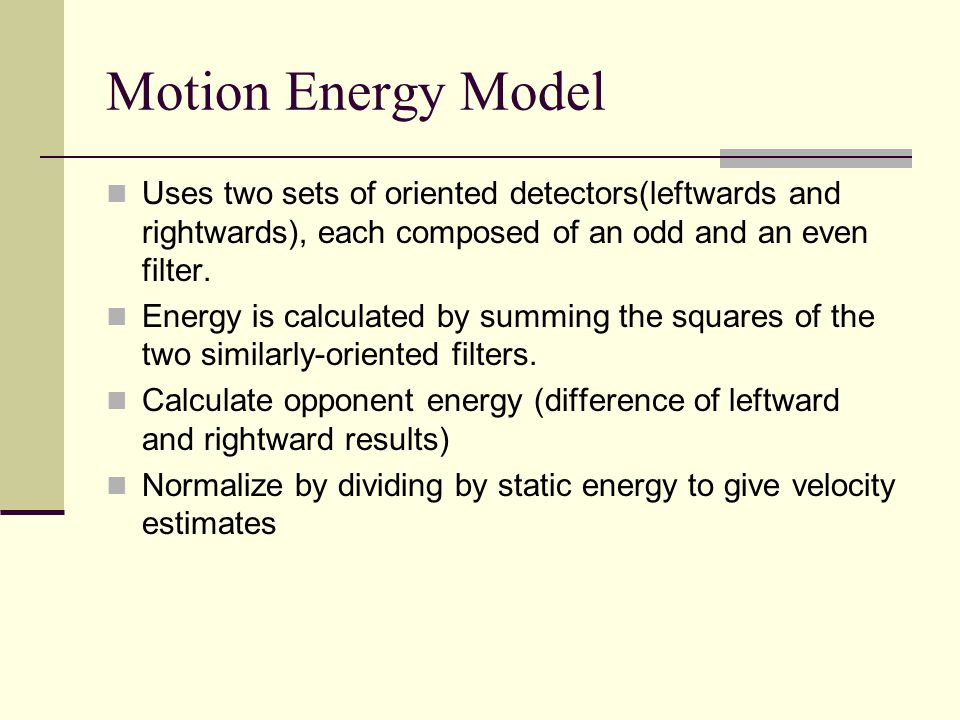 Motion Energy Model Uses two sets of oriented detectors(leftwards and rightwards), each composed of an odd and an even filter. Energy is calculated by