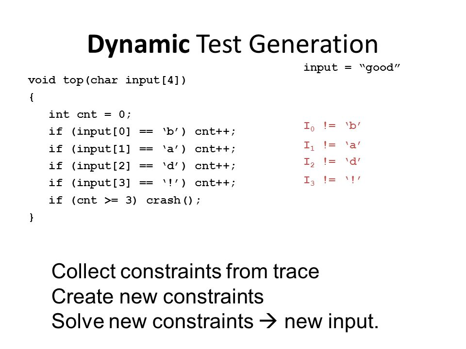 Dynamic Test Generation void top(char input[4]) { int cnt = 0; if (input[0] == 'b') cnt++; if (input[1] == 'a') cnt++; if (input[2] == 'd') cnt++; if