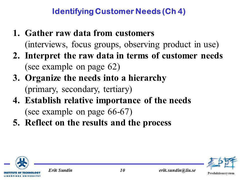 Produktionssystem Erik Sundin10erik.sundin@liu.se Identifying Customer Needs (Ch 4) 1.Gather raw data from customers (interviews, focus groups, observing product in use) 2.Interpret the raw data in terms of customer needs (see example on page 62) 3.Organize the needs into a hierarchy (primary, secondary, tertiary) 4.Establish relative importance of the needs (see example on page 66-67) 5.Reflect on the results and the process