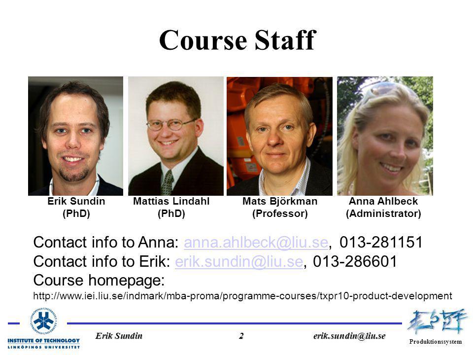 Produktionssystem Erik Sundin2erik.sundin@liu.se Course Staff Erik Sundin (PhD) Mattias Lindahl (PhD) Mats Björkman (Professor) Anna Ahlbeck (Administrator) Contact info to Anna: anna.ahlbeck@liu.se, 013-281151anna.ahlbeck@liu.se Contact info to Erik: erik.sundin@liu.se, 013-286601erik.sundin@liu.se Course homepage: http://www.iei.liu.se/indmark/mba-proma/programme-courses/txpr10-product-development
