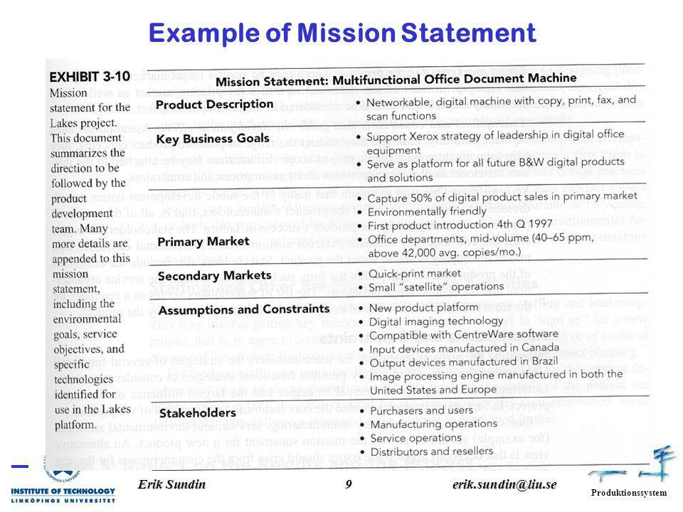 Produktionssystem Erik Sundin9erik.sundin@liu.se Example of Mission Statement