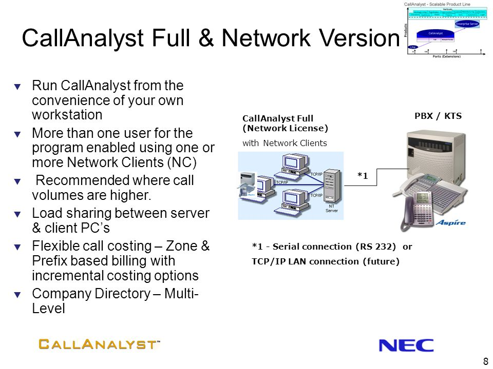 8 CallAnalyst Full (Network License) with Network Clients PBX / KTS *1  Run CallAnalyst from the convenience of your own workstation  More than one user for the program enabled using one or more Network Clients (NC)  Recommended where call volumes are higher.