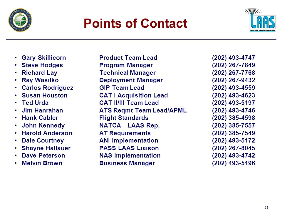 33 Points of Contact Gary SkillicornProduct Team Lead(202) 493-4747 Steve HodgesProgram Manager(202) 267-7849 Richard LayTechnical Manager(202) 267-7768 Ray WasilkoDeployment Manager(202) 267-9432 Carlos RodriguezGIP Team Lead(202) 493-4559 Susan HoustonCAT I Acquisition Lead(202) 493-4623 Ted UrdaCAT II/III Team Lead(202) 493-5197 Jim Hanrahan ATS Reqmt Team Lead/APML(202) 493-4746 Hank CablerFlight Standards(202) 385-4598 John Kennedy NATCALAAS Rep.