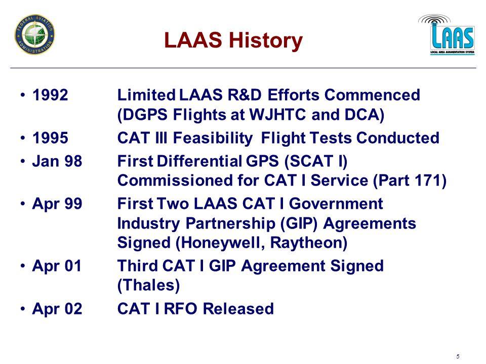 26 LAAS Business Case List of Participants Air Transport Association (ATA) Airline Pilots Association (ALPA) Cargo Airline Association (CAA) Regional Airline Association (RAA) Airports Council International (ACI) American Association of Airport Executives (AAAE) Aircraft Owners and Pilots Association (AOPA) Helicopter Association International (HAI) National Business Aircraft Association (NBAA) General Aviation Manufacturers Association (GAMA) FAA, Organizations Department of Defense (DoD) National Aeronautics and Space Administration (NASA) Airlines Avionics Manufacturers Airports