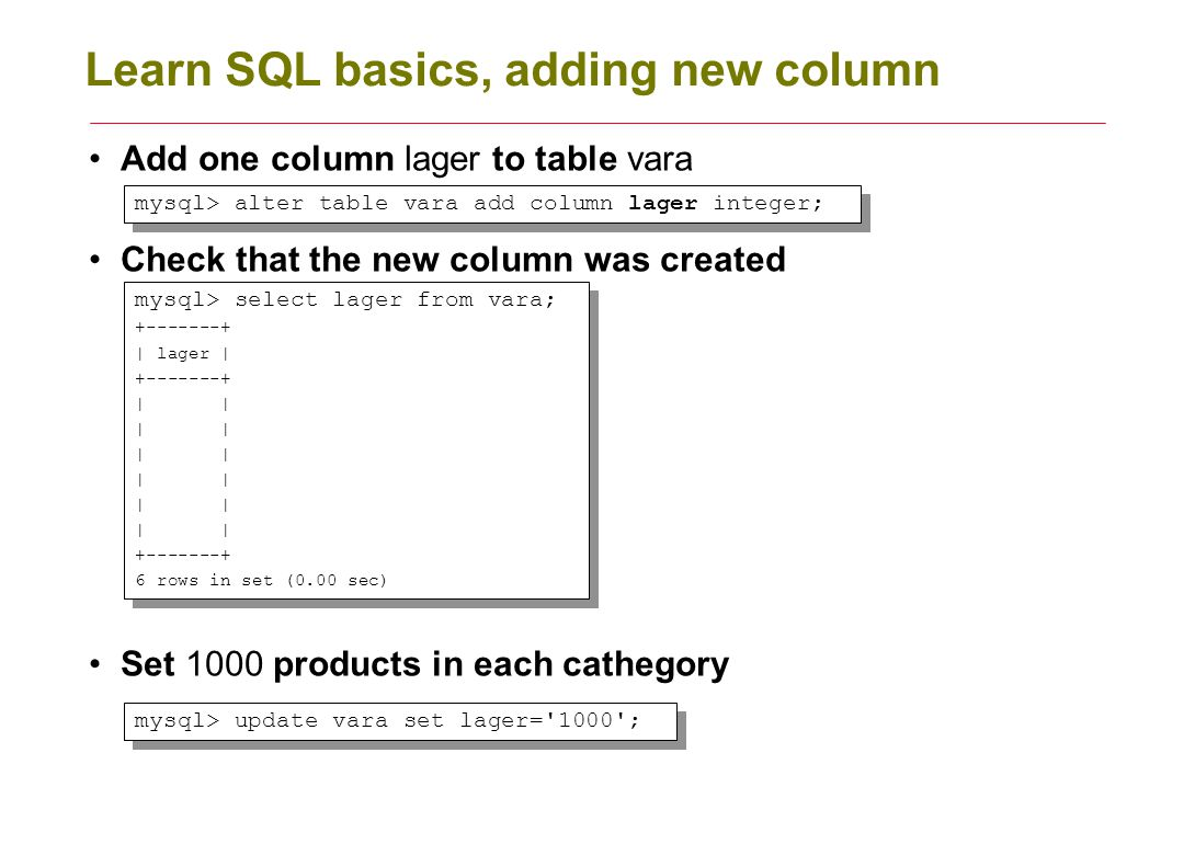 Learn SQL basics, adding new column Add one column lager to table vara Check that the new column was created Set 1000 products in each cathegory mysql