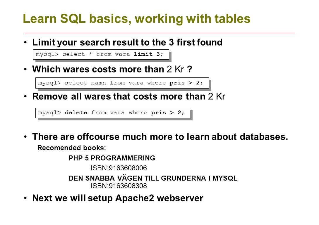 Learn SQL basics, working with tables Limit your search result to the 3 first found Which wares costs more than 2 Kr ? Remove all wares that costs mor