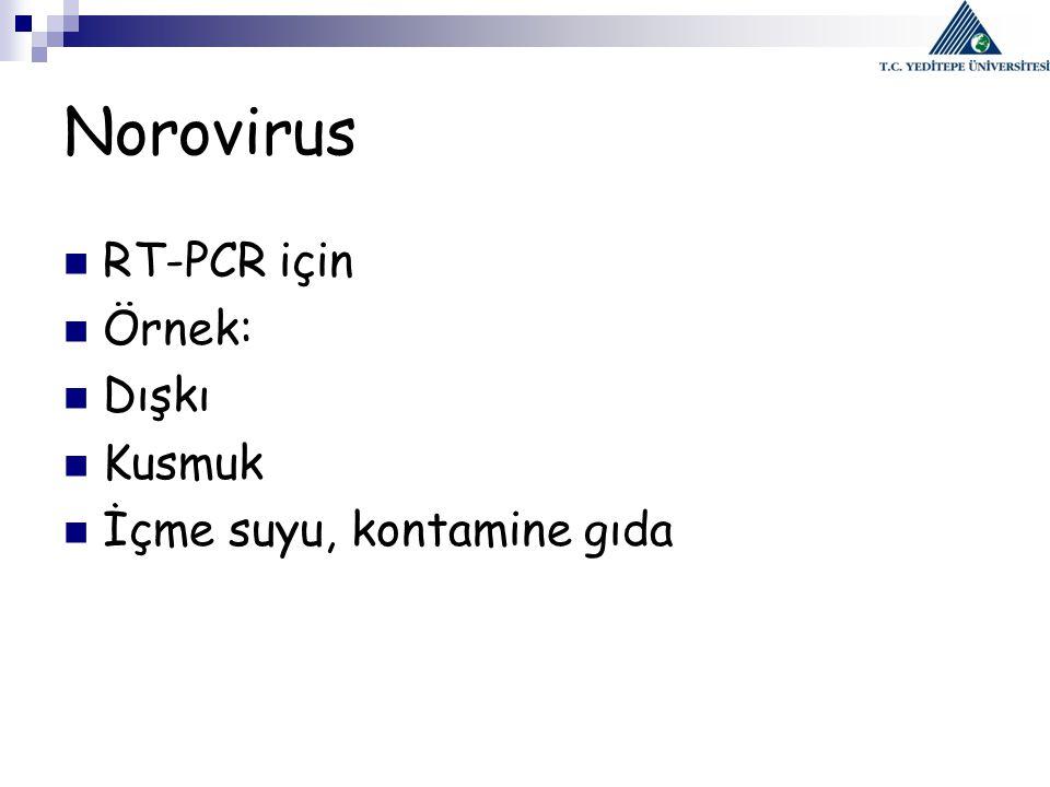 Norovirus RT-PCR için Örnek: Dışkı Kusmuk İçme suyu, kontamine gıda