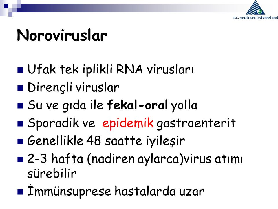 Noroviruslar Ufak tek iplikli RNA virusları Dirençli viruslar Su ve gıda ile fekal-oral yolla Sporadik ve epidemik gastroenterit Genellikle 48 saatte iyileşir 2-3 hafta (nadiren aylarca)virus atımı sürebilir İmmünsuprese hastalarda uzar