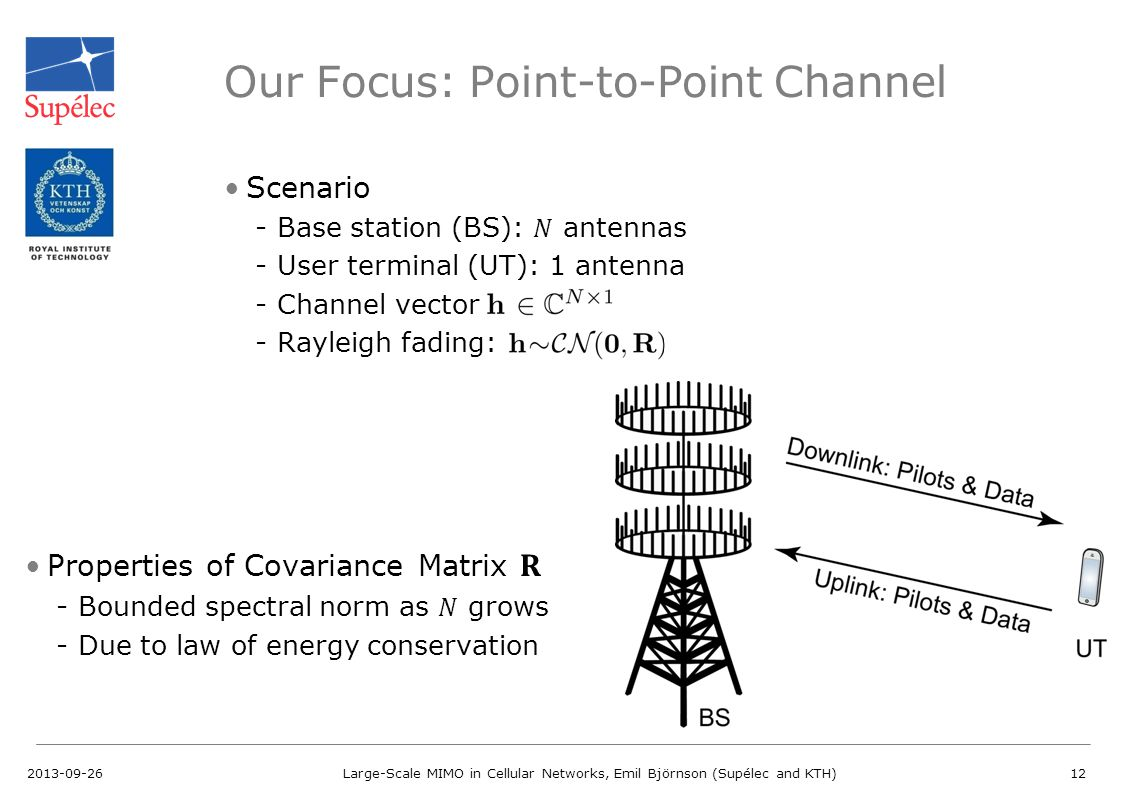 Our Focus: Point-to-Point Channel 2013-09-26Large-Scale MIMO in Cellular Networks, Emil Björnson (Supélec and KTH)12