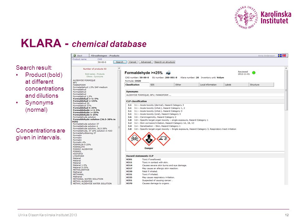 KLARA - chemical database Ulrika Olsson Karolinska Institutet 201312 Search result: Product (bold) at different concentrations and dilutions Synonyms