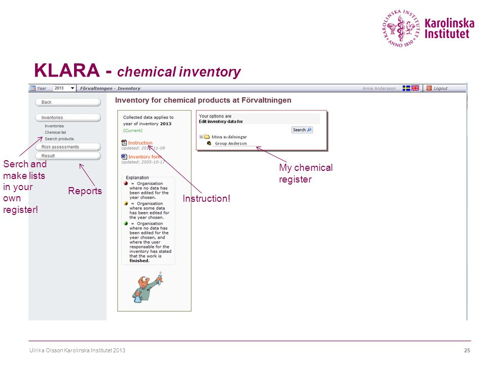 KLARA - chemical inventory Ulrika Olsson Karolinska Institutet 201325 Serch and make lists in your own register! Reports Instruction! My chemical regi