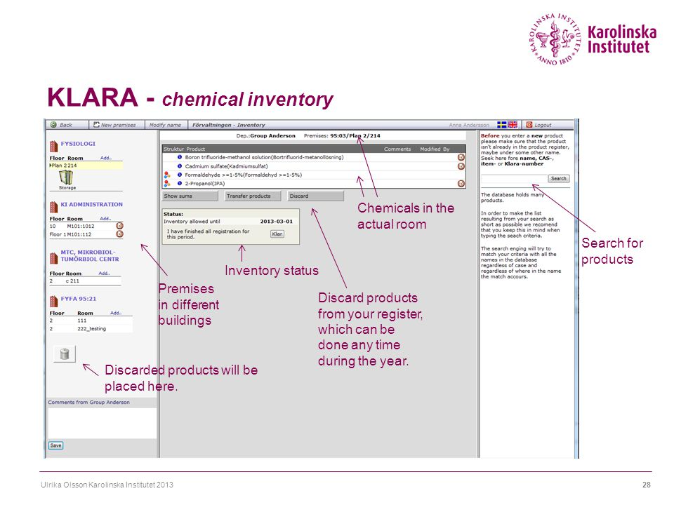 KLARA - chemical inventory Ulrika Olsson Karolinska Institutet 201328 Search for products Discarded products will be placed here. Discard products fro