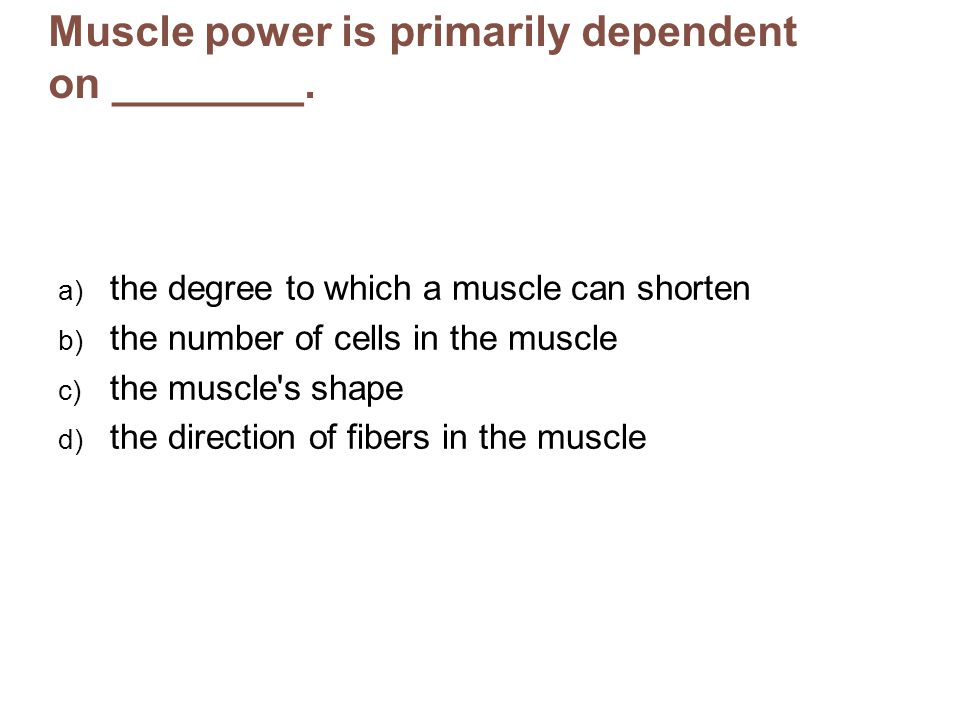 Muscle power is primarily dependent on ________. a) the degree to which a muscle can shorten b) the number of cells in the muscle c) the muscle's shap