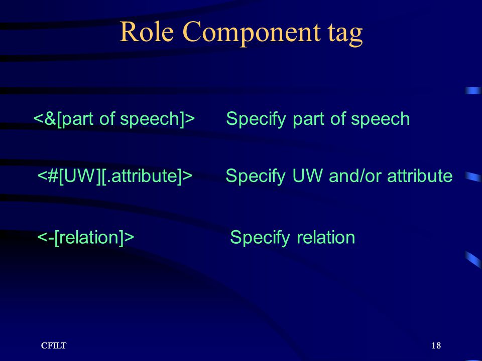 CFILT18 Role Component tag Specify part of speech Specify UW and/or attribute Specify relation