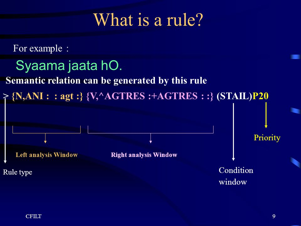 CFILT9 What is a rule. For example : Syaama jaata hO.