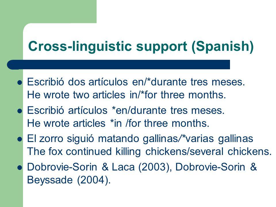 Cross-linguistic support (Spanish) Escribió dos artículos en/*durante tres meses.