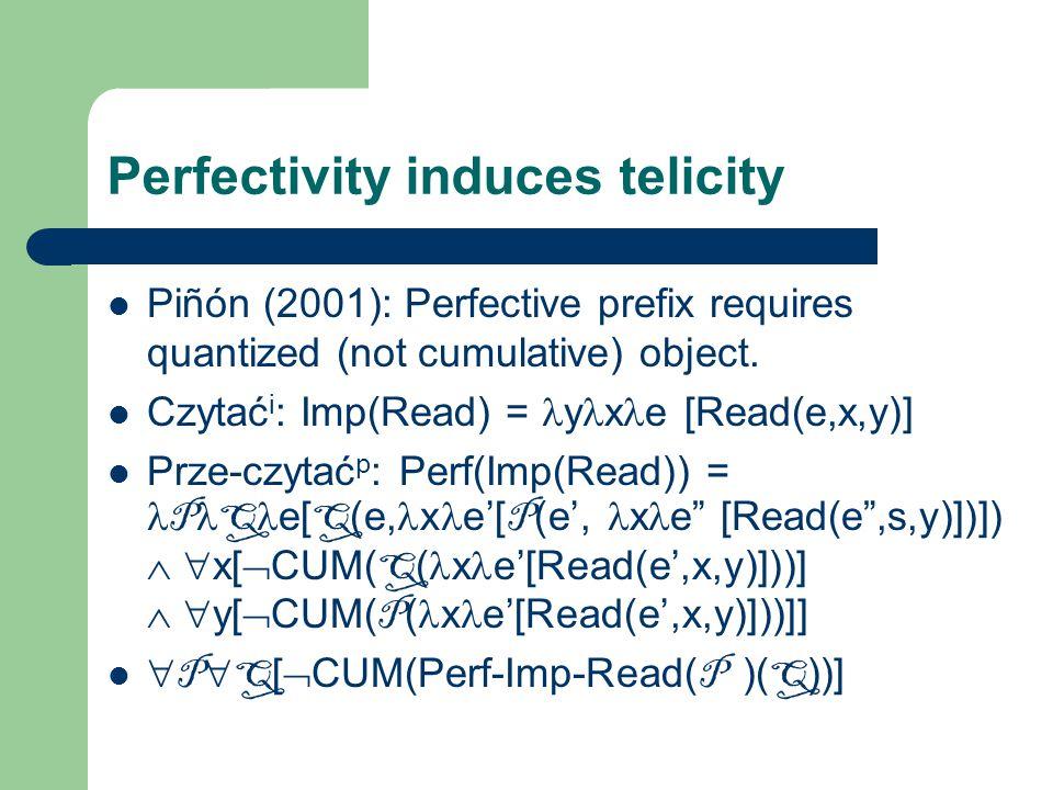 Perfectivity induces telicity Piñón (2001): Perfective prefix requires quantized (not cumulative) object.