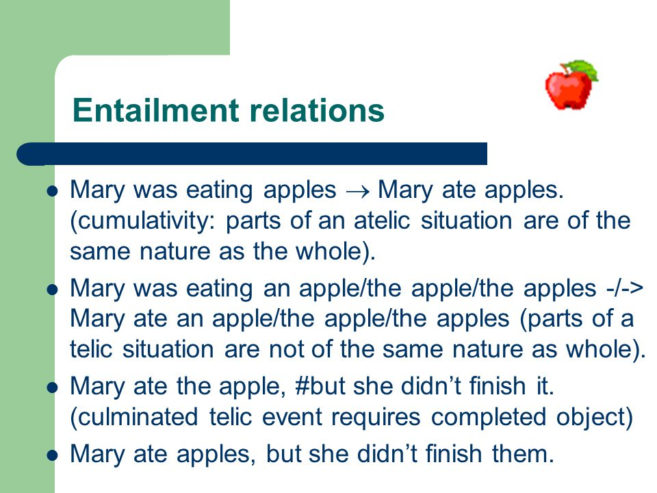 Entailment relations Mary was eating apples  Mary ate apples.