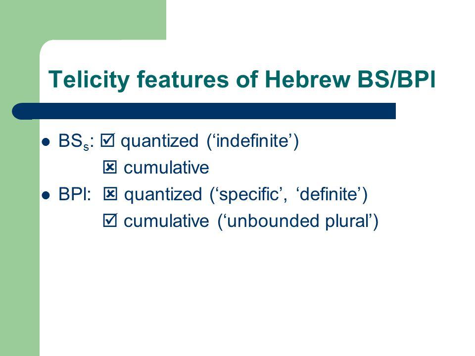 Telicity features of Hebrew BS/BPl BS s :  quantized ('indefinite')  cumulative BPl:  quantized ('specific', 'definite')  cumulative ('unbounded plural')